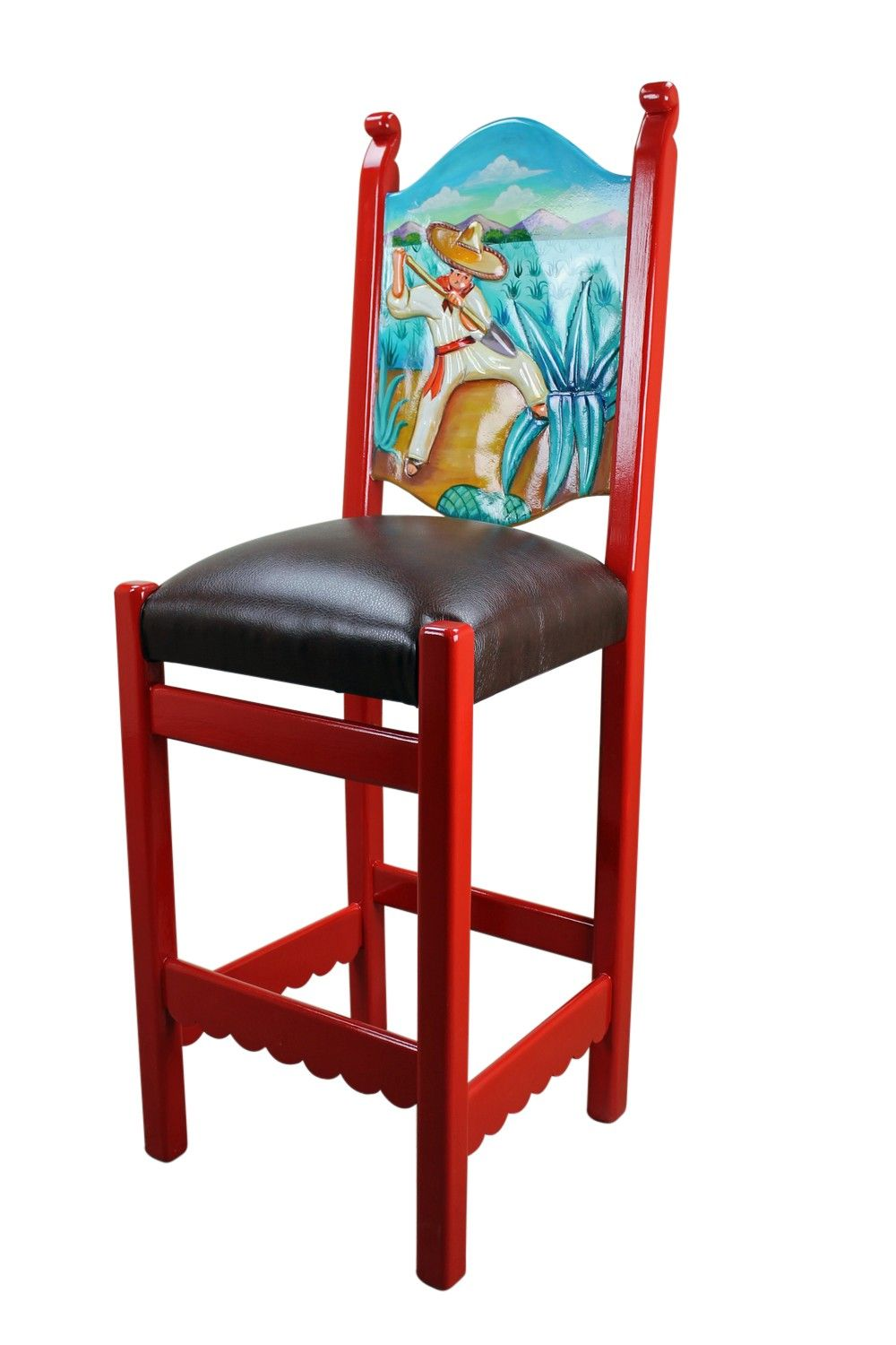 Mexican Painted Tables Rustic Mexican Painted Bar Stool