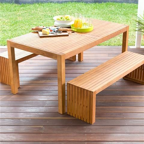 Wooden Bench And Table Set  Kmart  Outdoor furniture