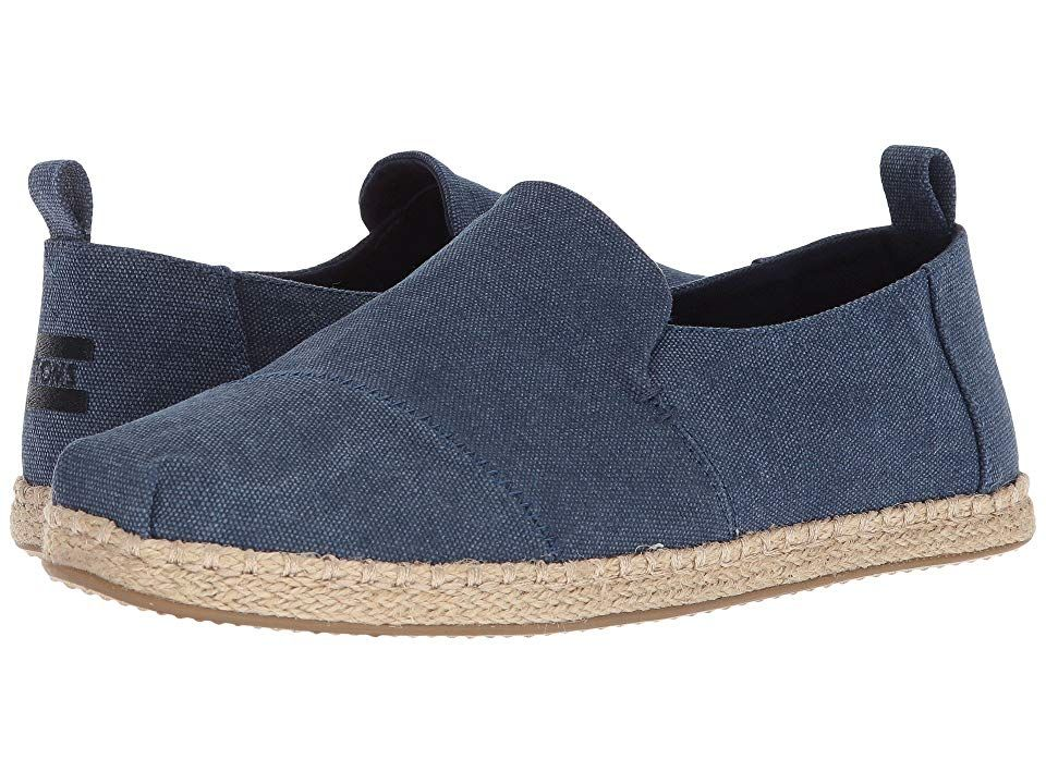c3a4cc3a433 TOMS Deconstructed Alpargata Rope (Navy Washed Canvas) Men s Slip on Shoes.  With every