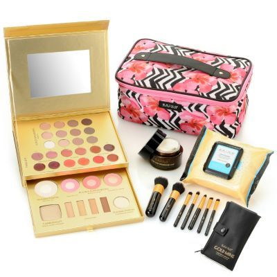 "Skinn Cosmetics 10-Piece ""Jet Set"" Makeup Palette & Skincare Favorites Set w/ Travel Bag"