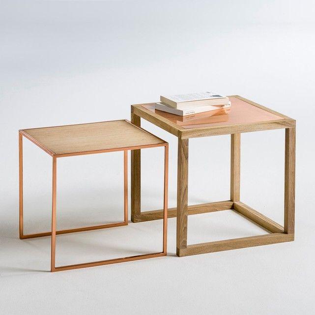 Tables Basses Gigognes Chene Et Cuivre Elori Lot De 2 Interieur Koffietafel Grote Salontafels