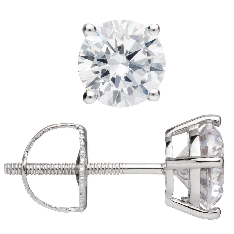 14k White Gold 7 mm Square Princess /& Baguette-cut Cubic Zirconia Stud Earrings