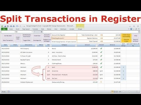 Split transactions into different categories in Excel checkbook - check register in pdf