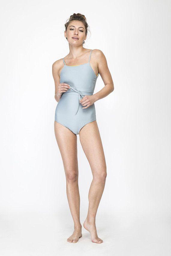 97ff151e99 Light Gray swimsuit, One piece swimsuit, Women's swimwear, Fresh and Sexy Bathing  suit, designer Ope