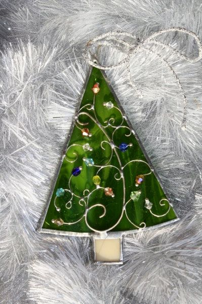 Beautiful handmade stained glass Christmas tree ornament to your own tree  or small suncatcher for home decoration. Measuring 2.8 X 4.1 (7cm X 10.5 cm) - Stained Glass Christmas Tree Ornaments Stained Glass Stained