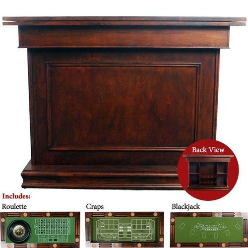 Home Bar Pub W Game Table Dark Mahogany Burled Craps Blackjack Roulette  Frship | EBay