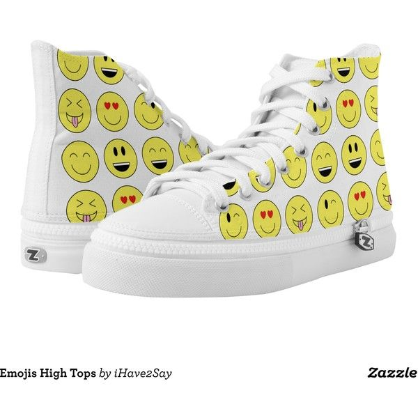 Emojis High Tops Printed Shoes ($84) ❤ liked on Polyvore featuring shoes,  sneakers