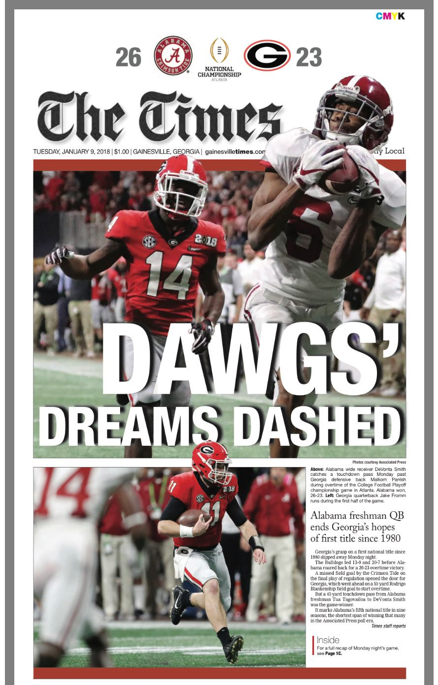 Front Page Of The Times Georgia Following Bama S 26 23 Ot Win