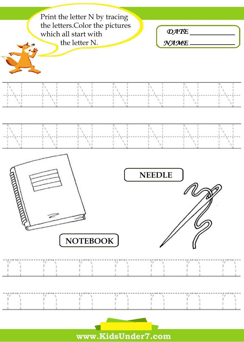 Alphabet Worksheetsace And Print Letter N Traceable Alphabet