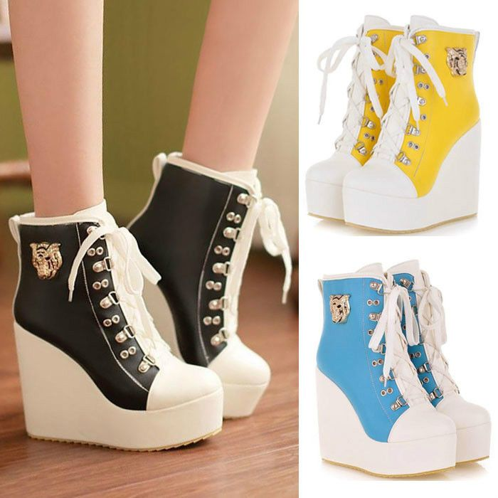 20182017 Fashion Sneakers EpicStep Womens Canvas Shoes Lace Up Fashion Sneakers Platform Wedges Retail