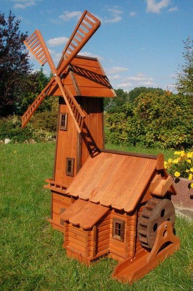 Windmuhle Mit Integrierter Wassermuhle Wassermuhlen Gartenwindmuhle Windmuhle Holzprojekte Diy
