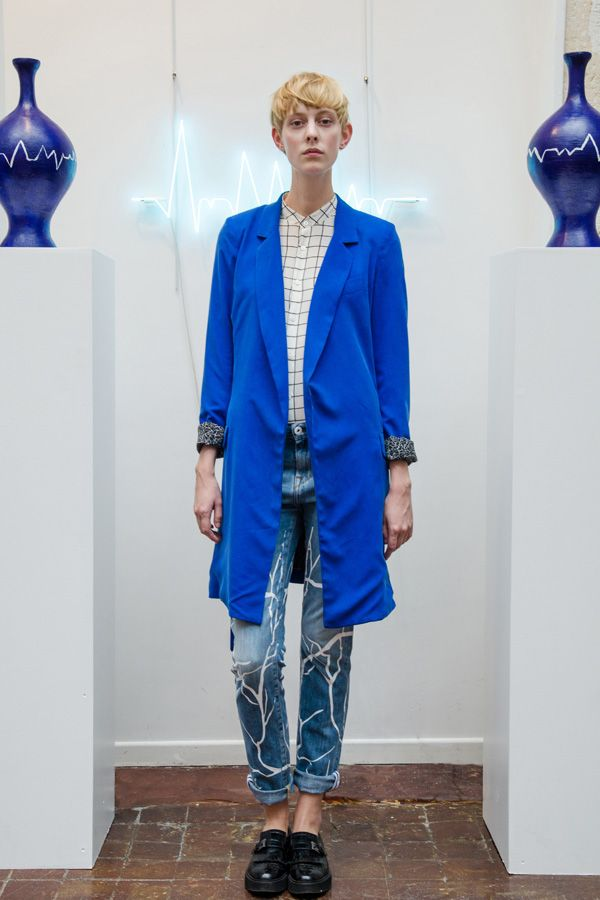 ELECTRIC BLUE SILK COAT, OVERSIZE SILK CHECK SHIRT WITH HEARTBEAT  EMBROIDERY AND BRANCH PRINT SLOUCHY