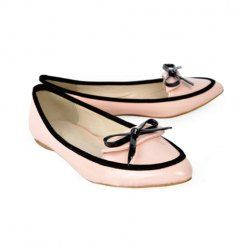 Casual Women's Flat Shoes With Pointed Head and Bowknot Color Block Design