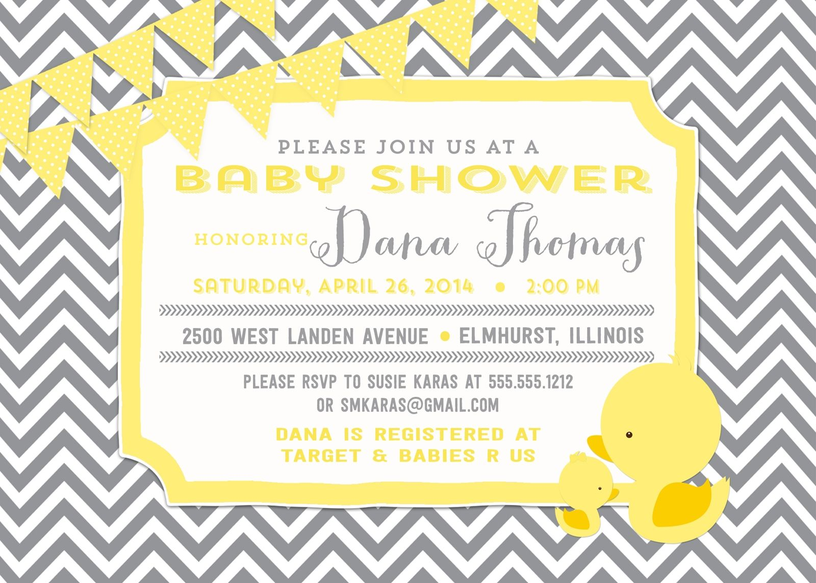 Rubber Duckie Baby Shower Invitation and personalized sign, Gray ...