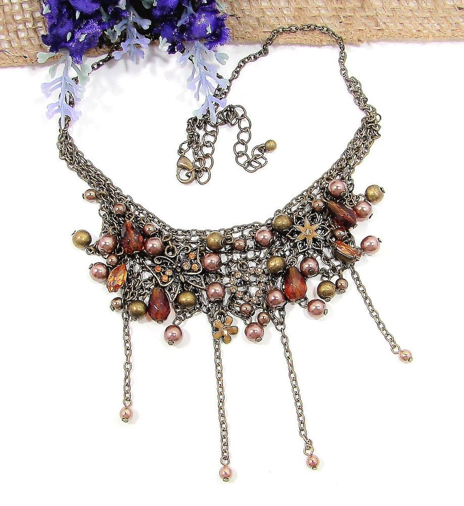 Starts At 99 Cents Beautiful Vintage Style Necklace Rhinestones Butterfly Charms Dangles NICE Bib