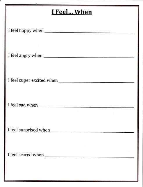 I Feel Worksheet Can Be Shared In Small Groups For Children To See