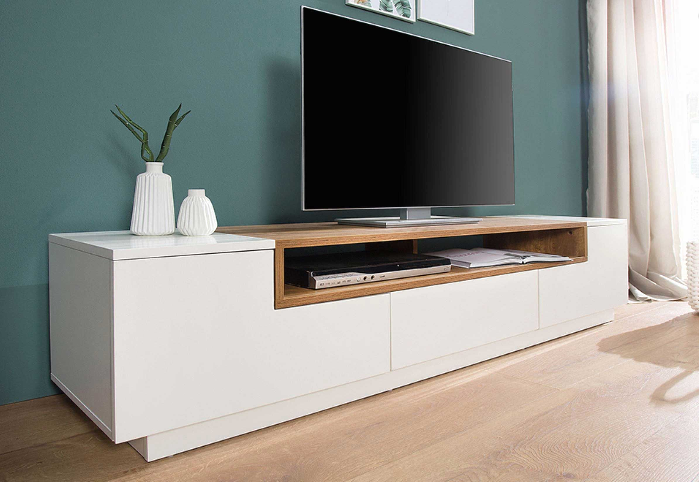 Chloe Decoration Meuble Tv Design Suspendu Vito 180cm Noir Et Blanc Floating Tv Stand Modern Tv Wall Units White Tv Stands