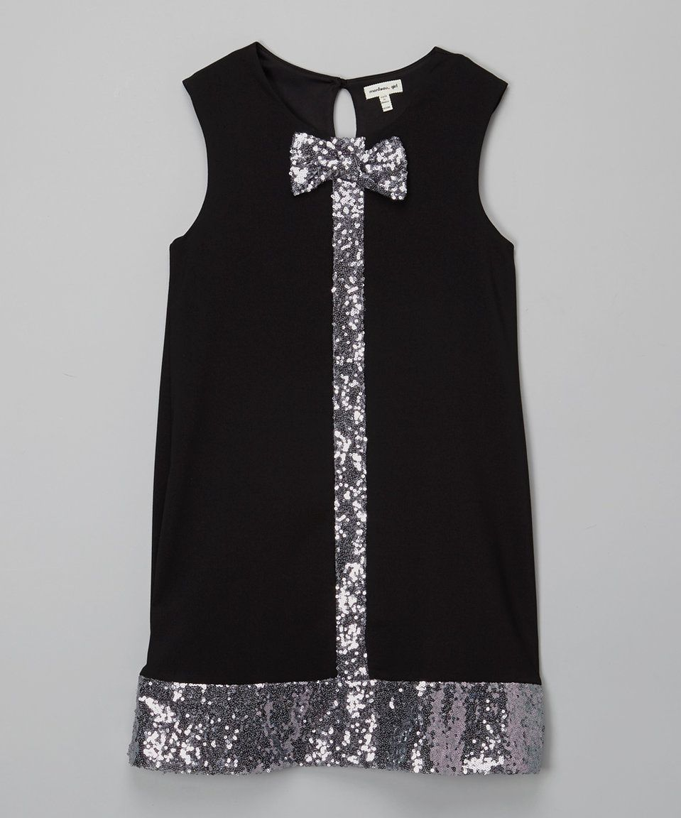 Monteau girl black sequin bow swing dress girls