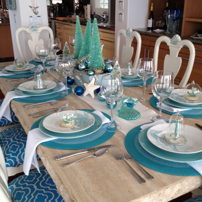Seaside Christmas Table With Images Coastal Christmas Decor