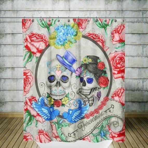 Forver More Roses Birds Sugar Skull Shower Curtain Sugar Skull Shower Curtain Skull Shower Curtain Sugar Skull
