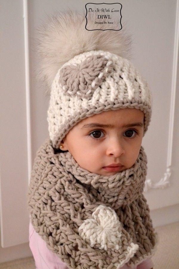 Bommel-Mütze mit Herz-Applikation und passendem Schal im Set häkeln ...