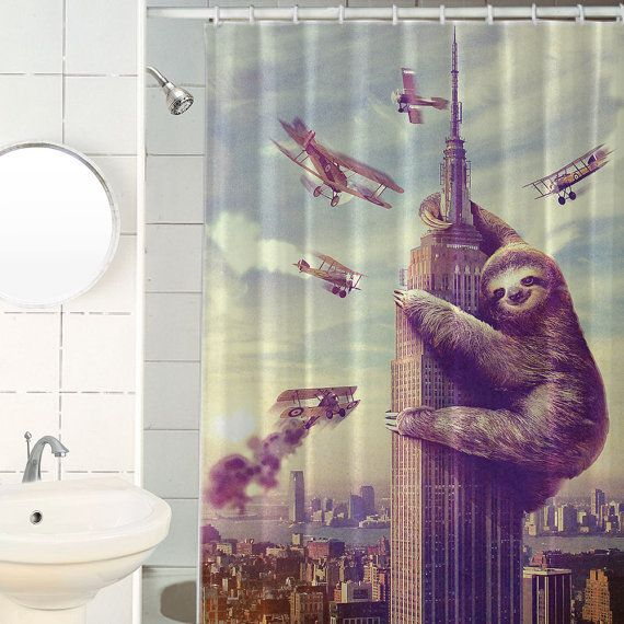 Funny Shower Curtain Fabric Shower Curtain Sloth Print Retro