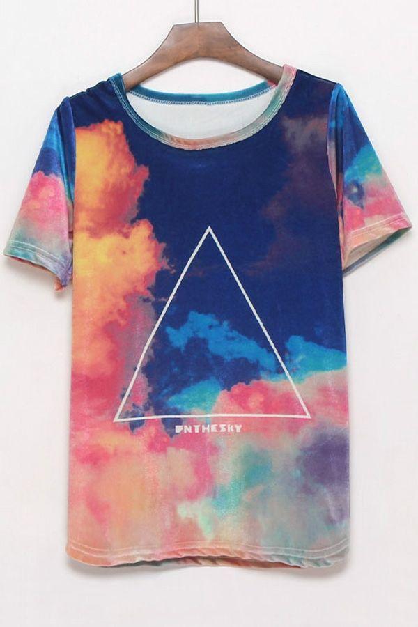 Triangle Print Galaxy T-shirt - OASAP.com