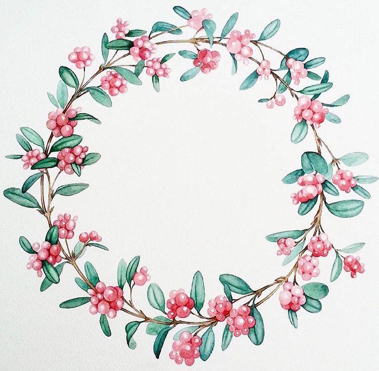 Wreath | Рисунки цветов, Акварельные цветы и Дизайн акварелью