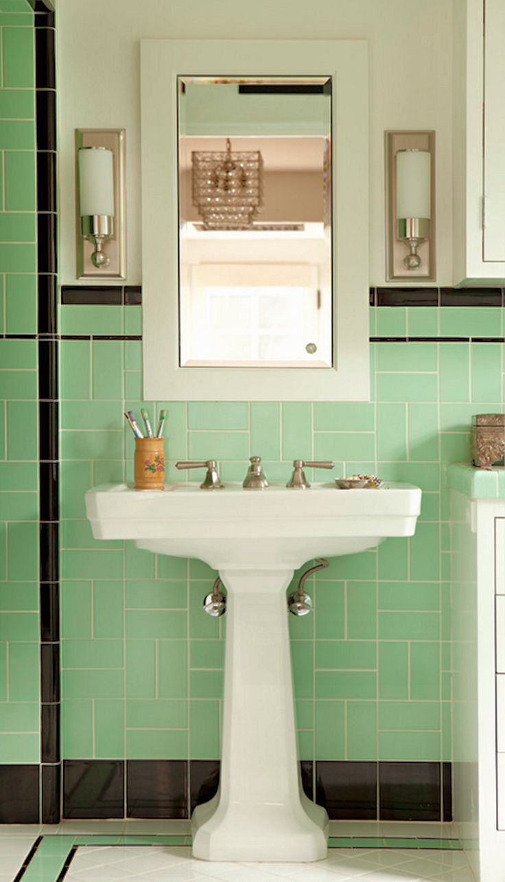 Pin By Barb Foley On Home Green Tile Bathroom Retro Bathrooms