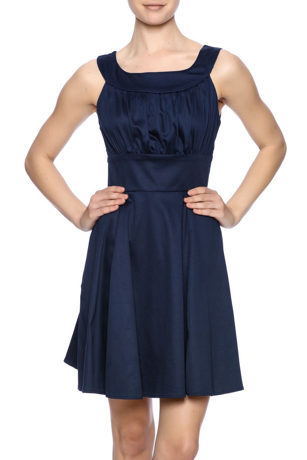 The essential navy sheath dress features a fitted waist, ruching at the bust and a zipper back closure.   Sleeveless Sheath Dress by Ixia. Clothing - Dresses - Cocktail Florida Palm Beach, Florida