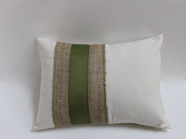 For The Leather Chair! Decorative Lumbar Burlap ~ Olive Green On Ivory  Pillow Cover Home Decor Throw Pillow Retro, Modern