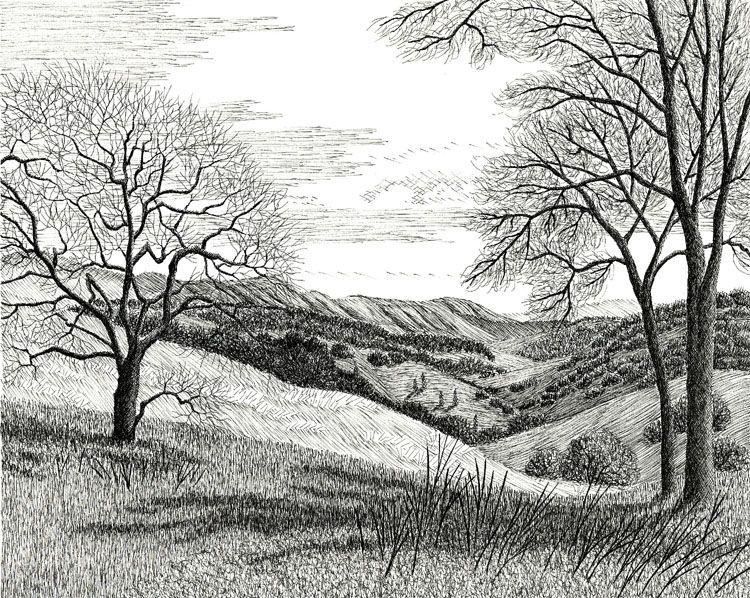 Eldredart Com Long Canyon Knoxville Landscape Sketch Landscape Drawings Drawing Scenery