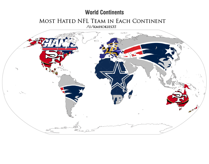 This Is A Map Of Which NFL Team Is The Most Hated In Each Country - Nfl team us map