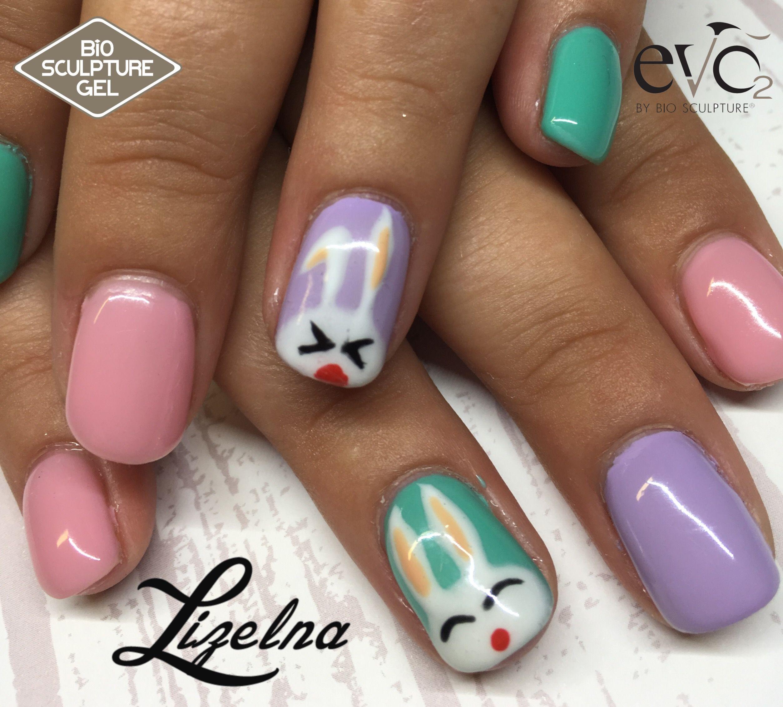 Bunny rabbit easter nails. Pastels. Nail art. Bio Sculpture and Evo ...