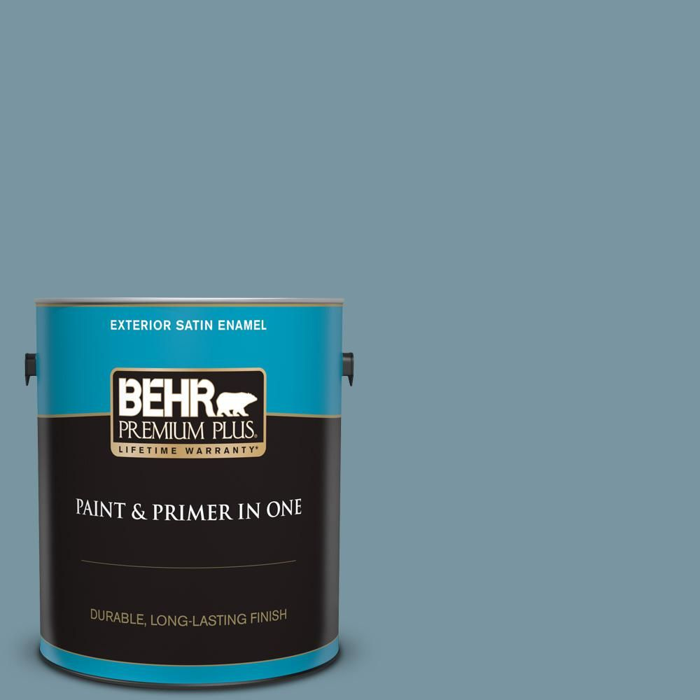 Behr Premium Plus 1 Gal 530f 5 Waterscape Satin Enamel Exterior Paint And Primer In One In 2019 Products Interior Paint Exterior Paint Interior