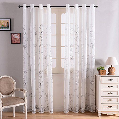 Top Finel Embroidered Butterfly Voile Window Sheer Curtain Panels