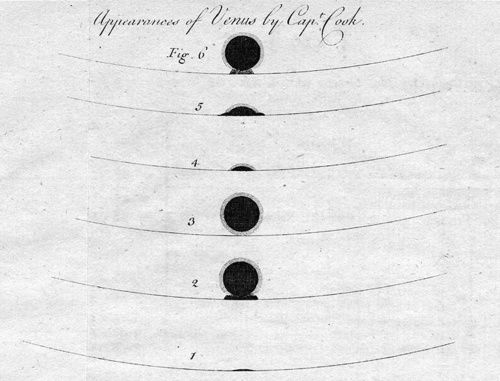 Captain Cook's drawing of his observation of the 1769 Transit of Venus, an essential part of the first worldwide scientific collaboration of its kind.