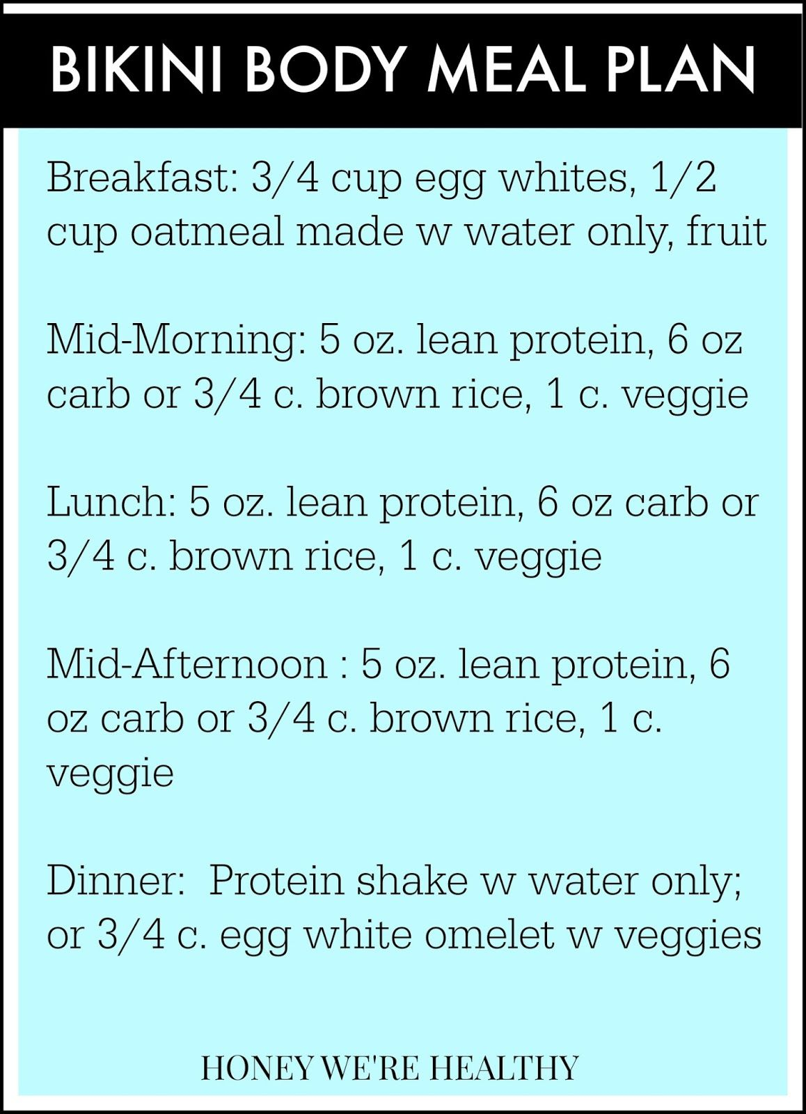 Bikini Body Meal Plan-- a little strict for my liking, but would ...