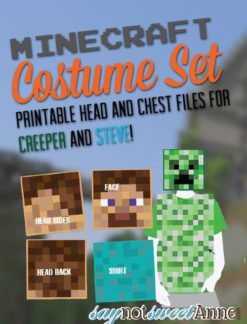 Minecraft Printable Costume Set Steve costume, Costumes and - minecraft halloween costume ideas