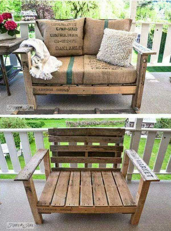 Outdoor Pallet Loveseat Diy Outside Amp Yard Ideias De