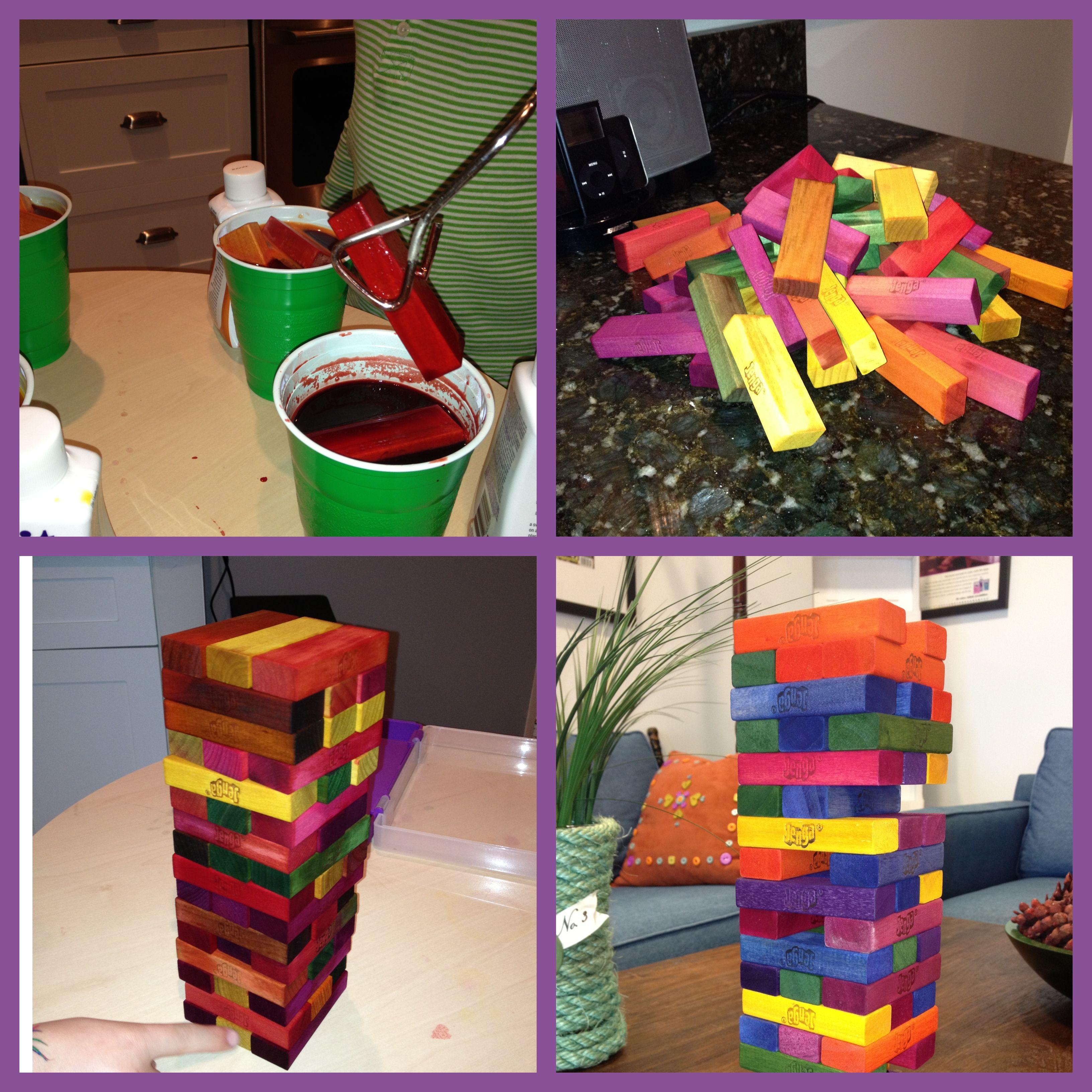 Add a little flare to jenga blocks with rit ritdye reception add color to a jenga set with rit dye nvjuhfo Image collections