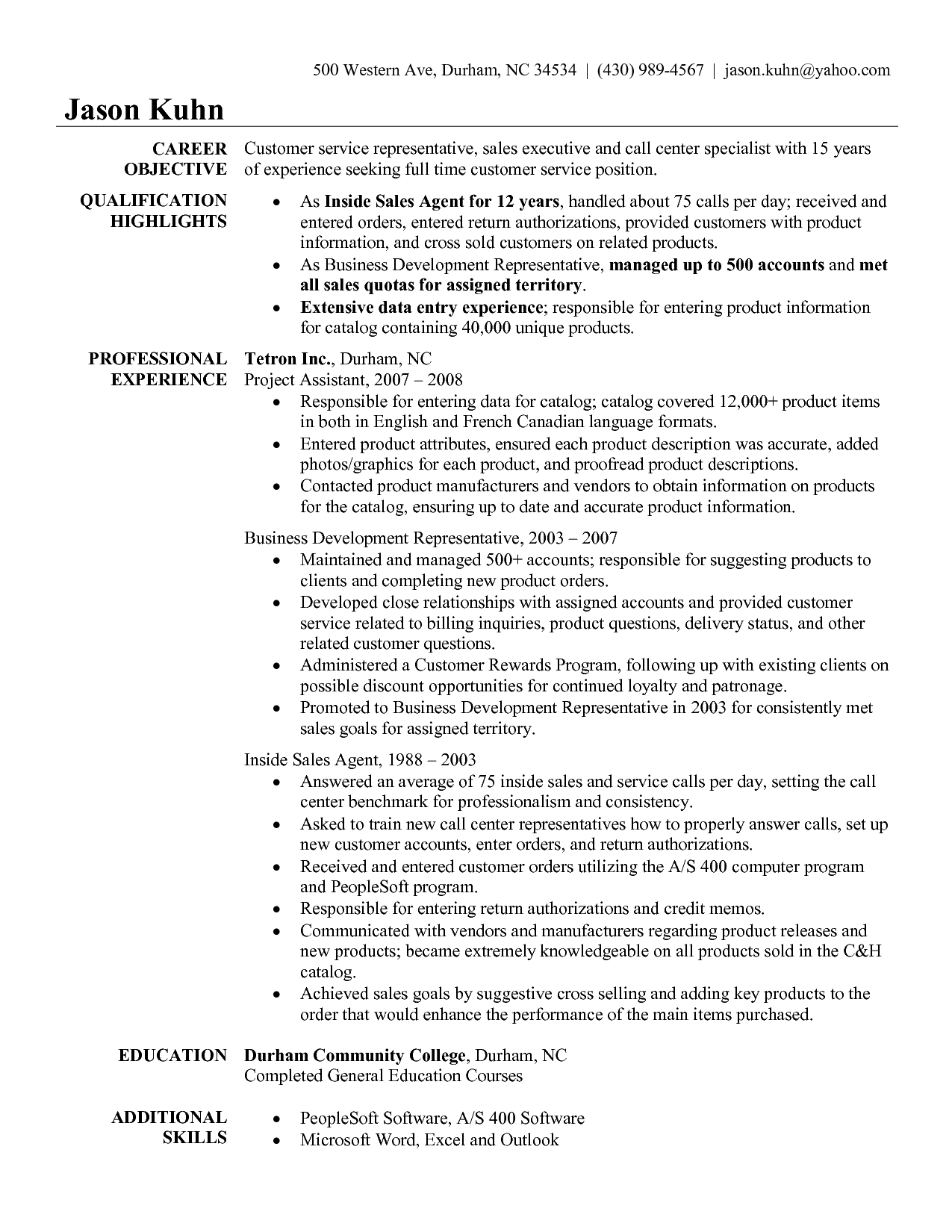Insurance Claims Representative Resume Sample - http://www ...