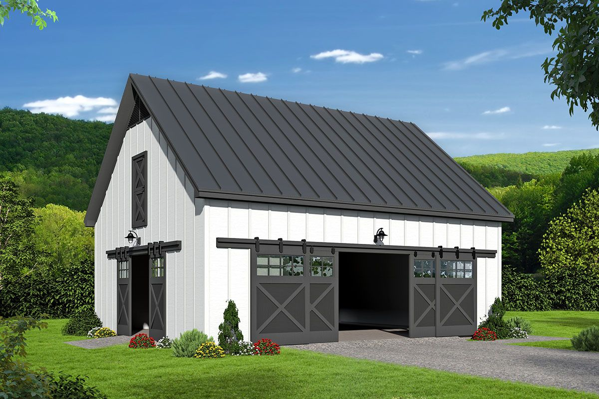 Plan 68690vr Barn Style Garage With Vaulted Loft Above Garage Plans With Loft Farmhouse Style House Plans Farmhouse Style House