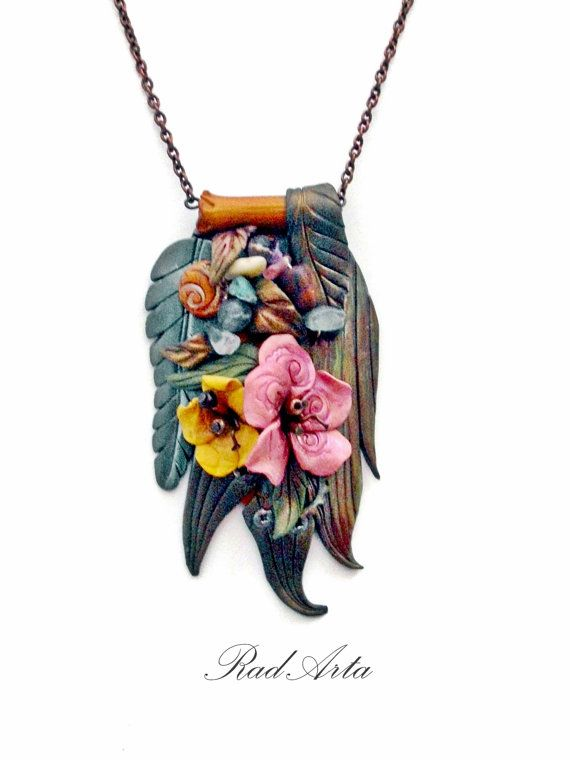 Vintage Inspired  Pendant Necklace Summer Pink Yellow by RadArta, $32.00