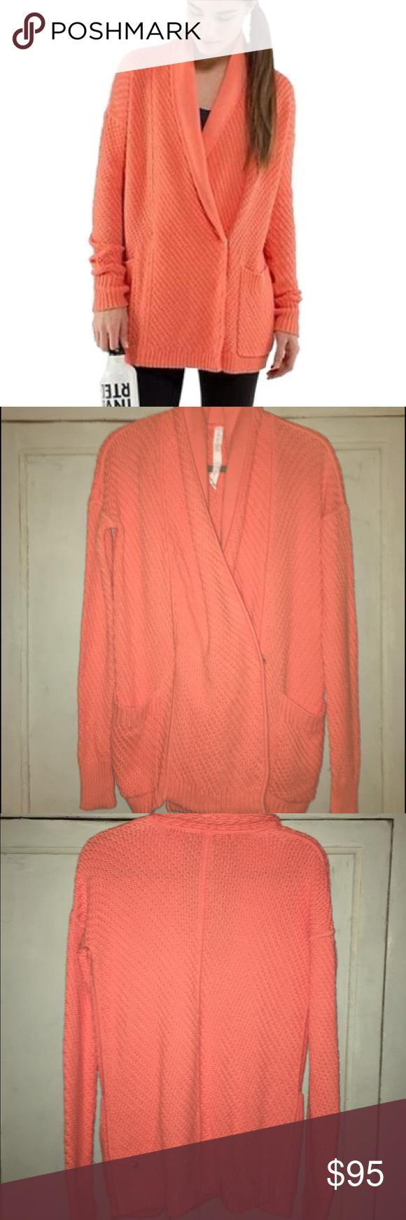 Lululemon chunky coral cardigan sweater | Coral cardigan ...