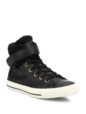 b0bb6a4ba3aa CONVERSE Chuck Taylor® All Star® Brea Leather   Faux Fur High-Top Sneakers.   converse  shoes  sneakers