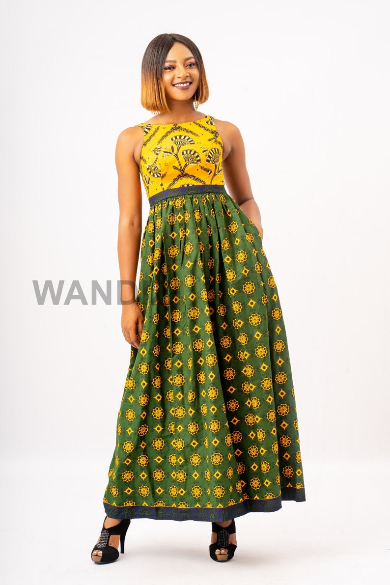 Vibrant African Print Long Sunny Dress, Ankara Long Dress, Gift For Her, African Clothing for Women, African Dress, African Clothing #africanprintdresses
