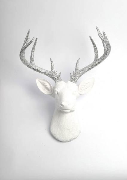 The Xl Weston White Stag Deer Head Wall Mount W Silver Glitter Antlers Faux Taxidermy