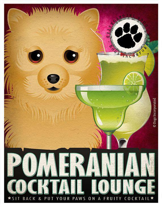 Pomeranian Drinking Dogs Original Art Poster Print - Personalized ...
