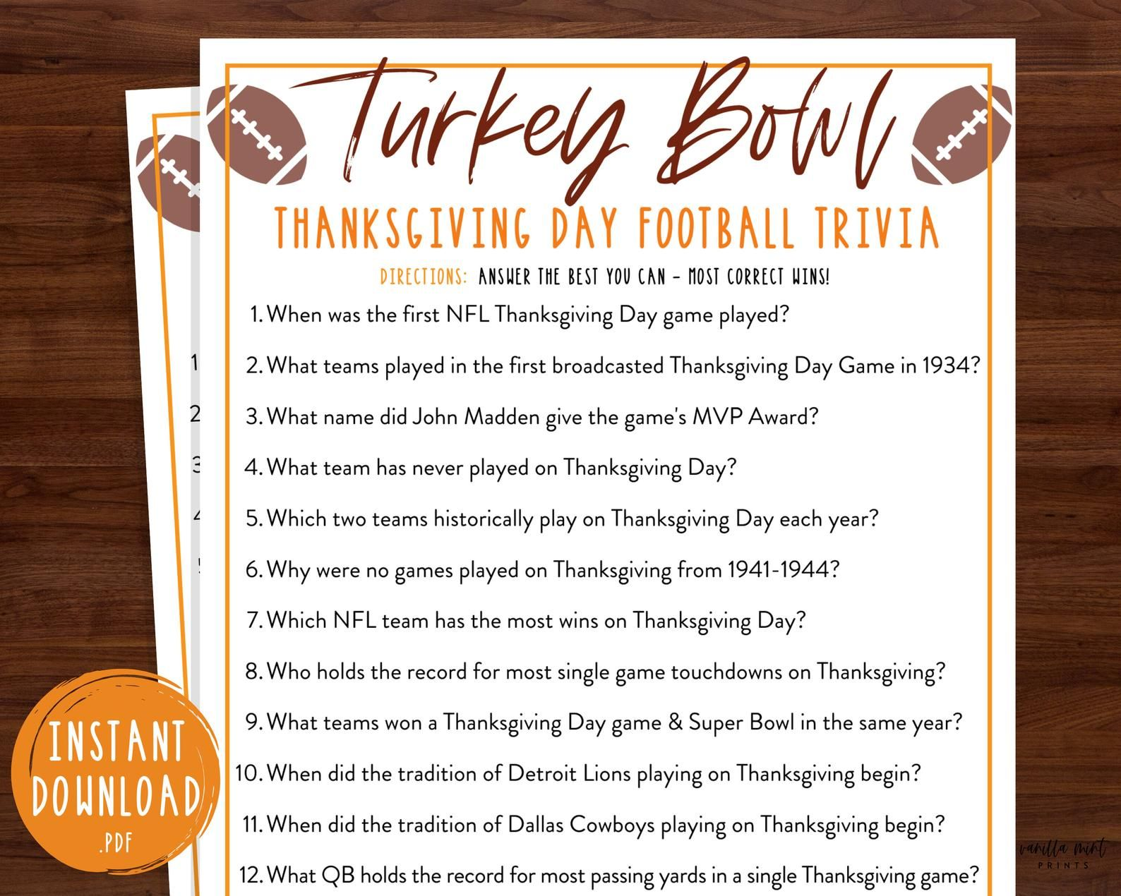 Thanksgiving Day Football Trivia Game Nfl Turkey Bowl Trivia Thanksgiving Printable Games Fun Thanksgiving Trivia Game Friendsgiving In 2020 Thanksgiving Day Football Thanksgiving Facts Thanksgiving Games